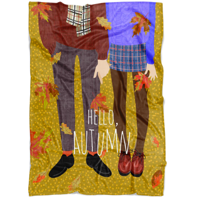 Cozy Couple Enjoying Autumn Fleece Blanket