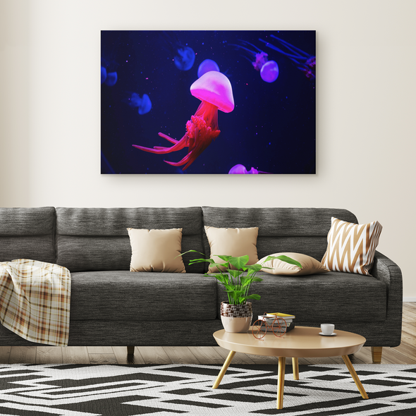 Neon Pink Jellyfish Canvas Wall Art