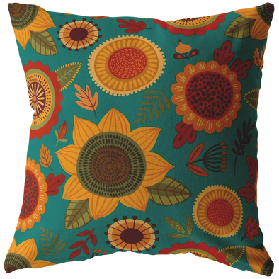 Funky Fall Flowers Throw Pillow