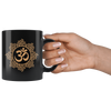 Om Gold 11oz Black Mug