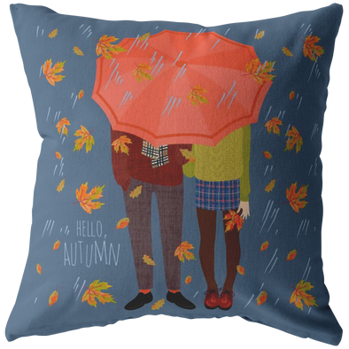 Hello Autumn Couple Throw Pillow