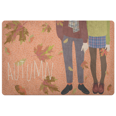 Cozy Couple Enjoying Autumn Indoor Floor Mat