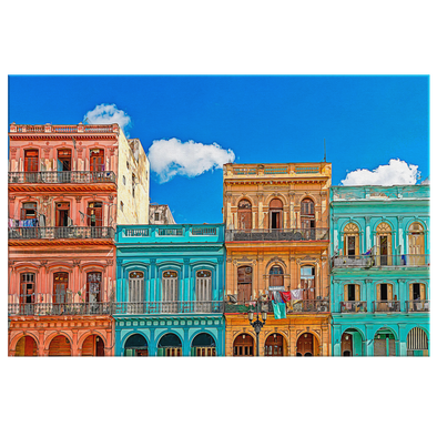 Habana Vieja Cuba Oleo Style Painting Canvas Wall Art