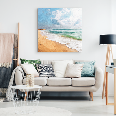 Afternoon Beach Waves Canvas Wall Art