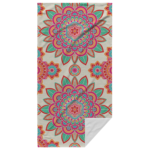 Mandalas In Orange Beach Towel