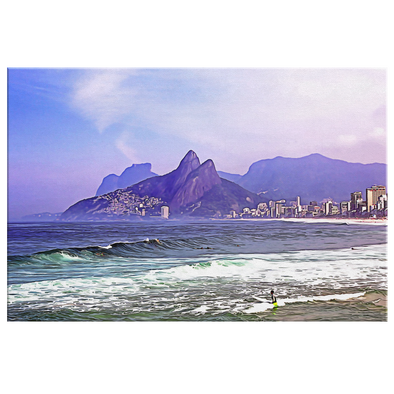 Playa de Ipanema Brazil Oleo Painting Style Canvas Wall Art