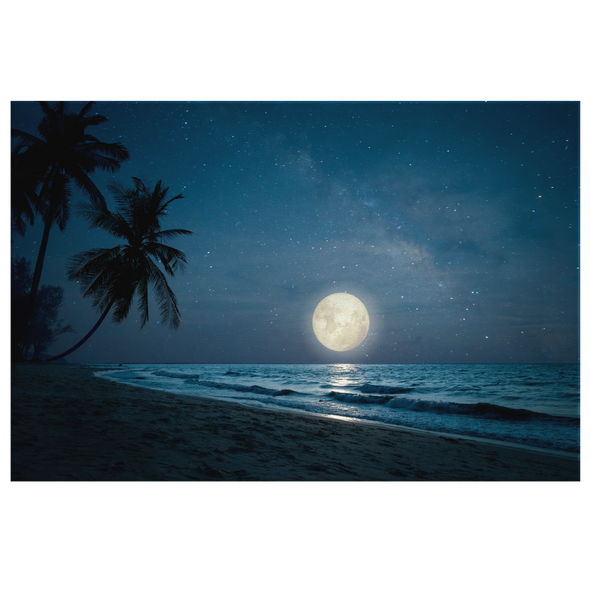 Moonrise At The Beach Canvas Wall Art
