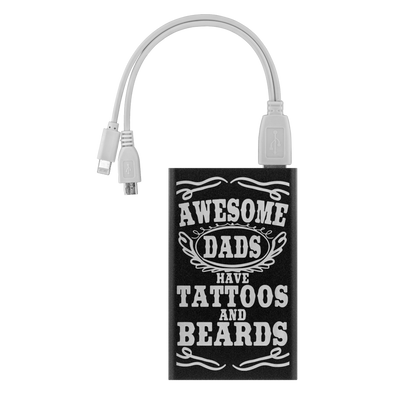 Awesome Dad's have Tattoos and Beards Power Bank