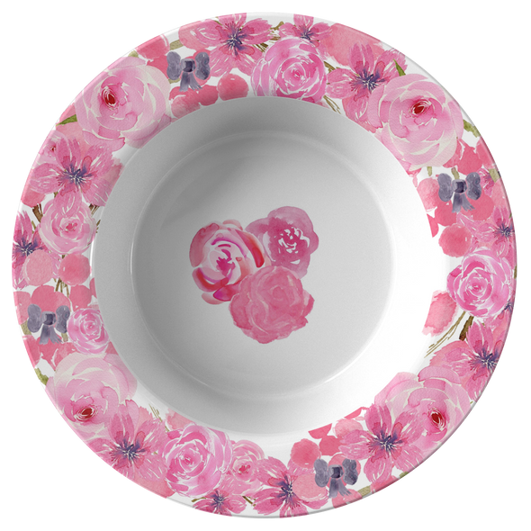 "Pink Flowers In Bloom 8.5"" Bowl"