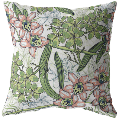 Green Sprawling Flowers Throw Pillow