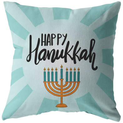 Happy Hanukkah - Turquoise Throw Pillow