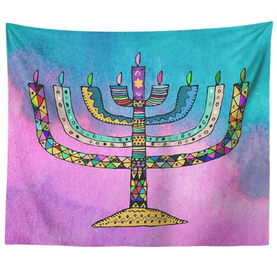 Colorful Menorah Horizontal Tapestry