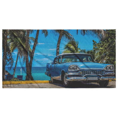 Vintage Blue Car Cuba Beach Towel