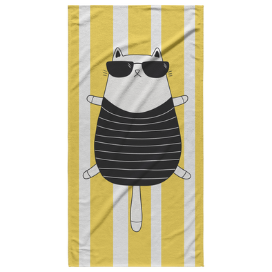 Tanning Cat Beach Towel