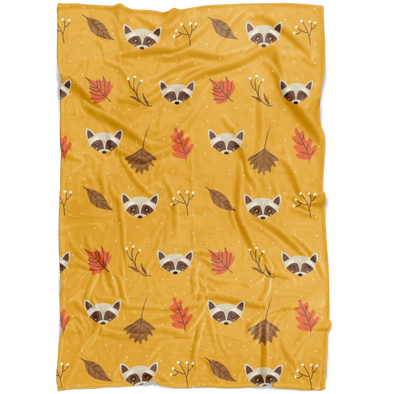 Raccoon in Autumn Fleece Blanket