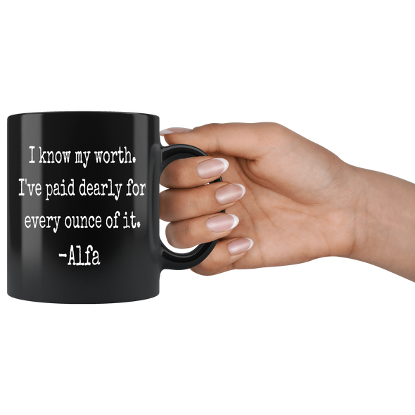I Know My Worth 11oz Black Mug