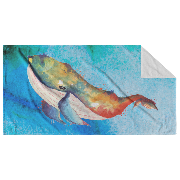 Watercolor Whale Beach Towel