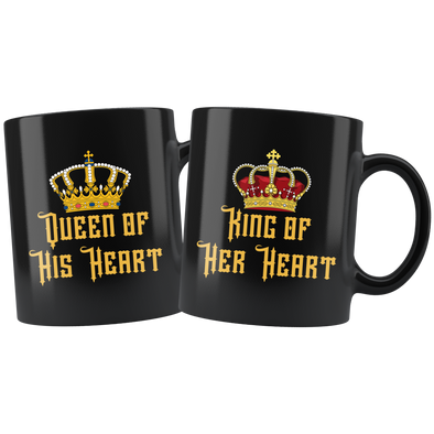 Queen + King of Your Hearts 11oz Matching Black Mug