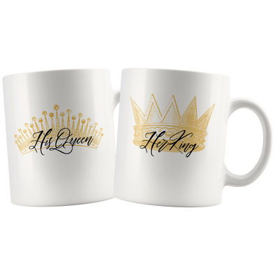 His Queen + Her King 11oz Matching White Mug