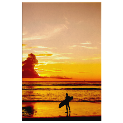 Sunset Surfer Canvas Wall Art