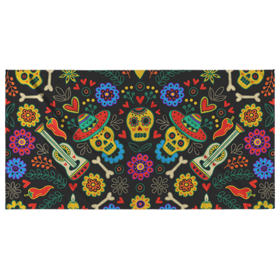 Sugar Skulls And Guitars Beach Towel