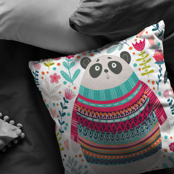 Winter Panda Throw Pillow