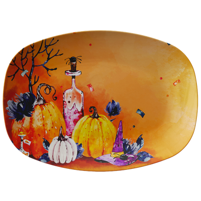 "Orange Pumpkin Party 10"" x 14"" Serving Platter"