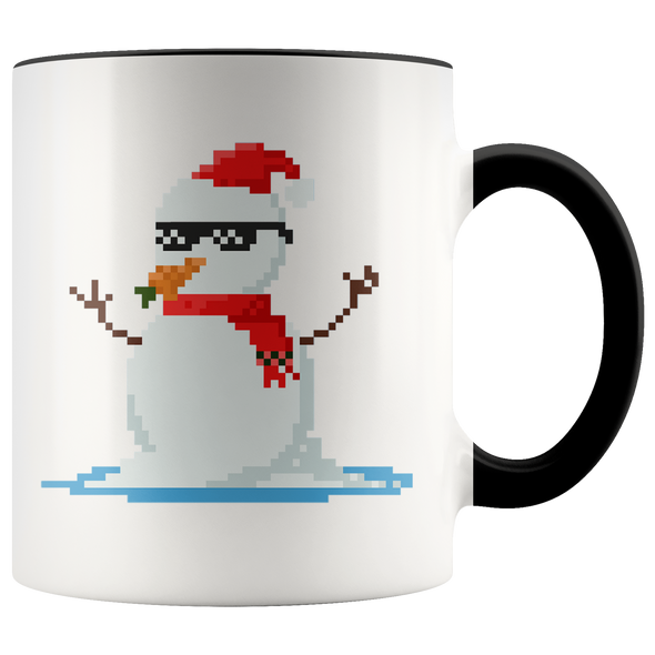 Christmas Pixel Snow Man 11oz Accent Mug