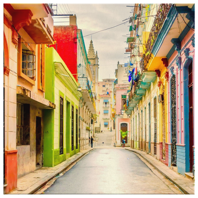 Colorful Street Havana Cuba Canvas Wall Art