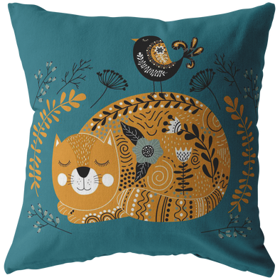 Cats and Birds Loves Autumn Throw Pillow