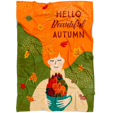 Hello Beautful Autumn Fleece Blanket
