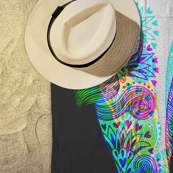 Psychedelic Whale Beach Towel