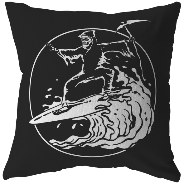 Death Surfing Throw Pillow