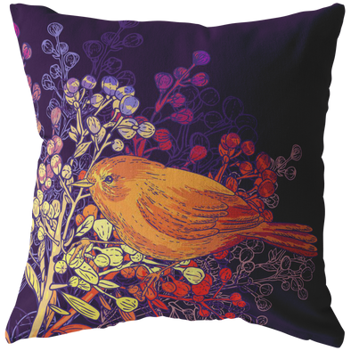 Magical Birds & Seeds Throw Pillow