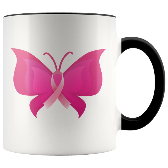 Pink Ribbon Butterfly 11oz Accent Mug