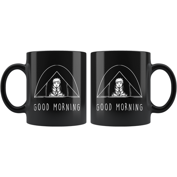 Camping Morning Black 11oz Black Mug