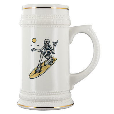 Skeleton Surfer Beer Stein