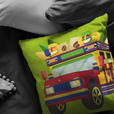 Colombian Chiva Throw Pillow