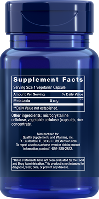 A bottle of Life Extension Melatonin 10mg