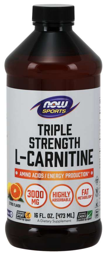 Triple Strength Liquid L-Carnitine 3000 mg - Now Foods