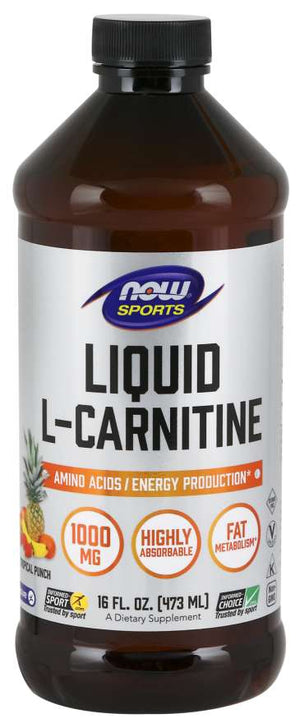 Liquid L-Carnitine 1000mg - Tropical Punch - Now Foods - 16 fl oz