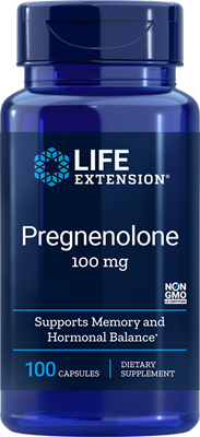 A bottle of Life Extension Pregnenolone 100 mg