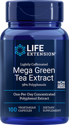A bottle of Life Extension Lightly Caffeinated Mega Green Tea Extract