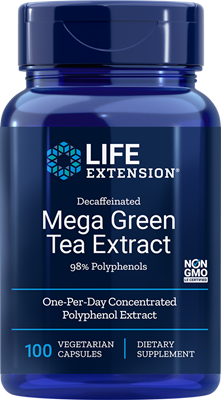 A bottle of Life Extension Decaffeinated Mega Green Tea Extract