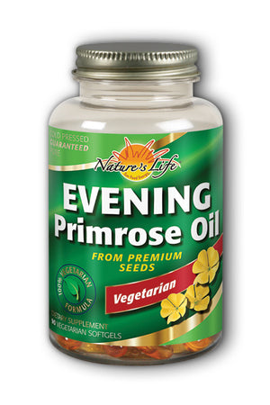 A bottle of Vegetarian Evening Primrose Oil Nature's Life