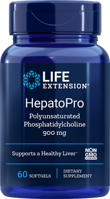 A bottle of Life Extension HepatoPro 900 mg (Polyunsaturated Phosphatidylcholine)