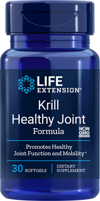 A bottle of Life Extension Krill Healthy Joint Formula