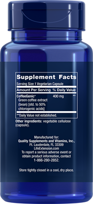 A bottle of Life Extension CoffeeGenic® Green Coffee Extract
