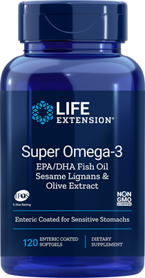A bottle of Life Extension Super Omega-3 EPA/DHA with Sesame Lignans & Olive Extract Enteric Coated Softgels