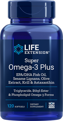 A bottle of Life Extension Super Omega-3 Plus EPA/DHA with Sesame Lignans, Olive Extract, Krill & Astaxanthin